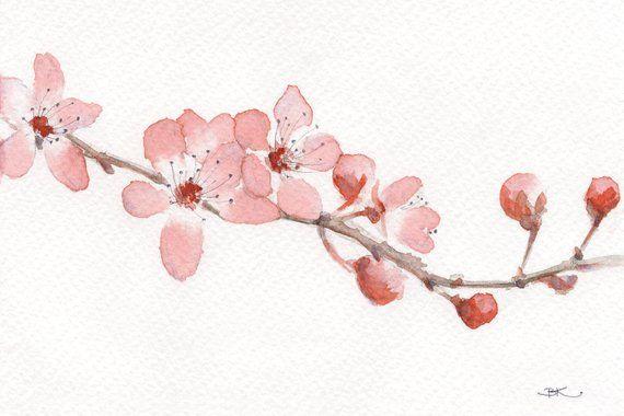 Aquarelle Painting Art Print Cherry Blossom Flower Modern Etsy Paintings Art Prints Floral Art Flower Painting