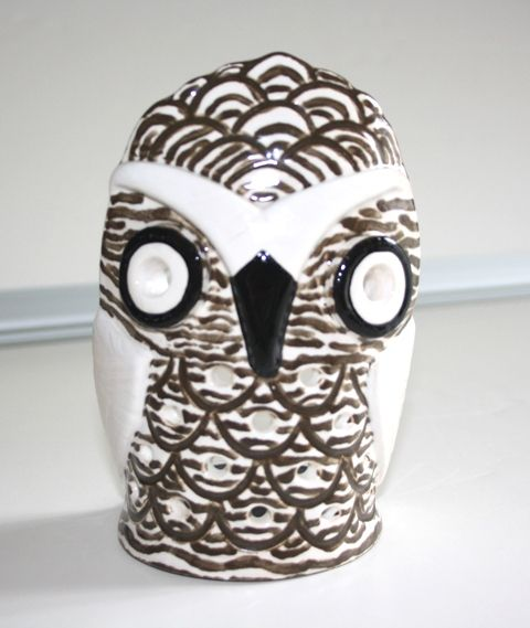 Handmade ceramic owl candle holder