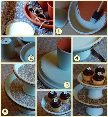 Antes e depois: pratos e vasos de plantas ficam lindos como suporte para doces. Veja o modelo com tecido.