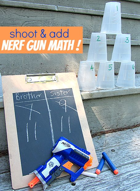 """This fun nerf gun math game will have your kids shootin' for '""""A's"""" in class! (via No Time for Flash Cards)"""
