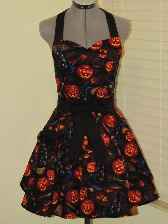 Limited Edition- Sexy Halloween Apron- Sweetheart style Full of Flounce and Twirl-Boo Bellknobs & Broomsticks. $37.00, via Etsy.-- looooove :)