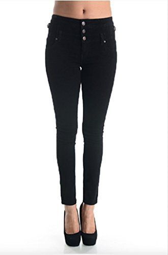 Eunina Women's High Waisted Stretch Skinny Denim Jeans Let these be your new favorite, best fitting, and well constructed pair of jeans! These feel as close to jeggings while still being real denim. These jeans have Great Stretch that ensures a perfect fit, no matter your frame. Take the fear out of buying jeans online – buy jeans that are made to fit you instead of trying to find jeans that fit you. These High Waist Multi Button Skinny Jeans by Eunina Jeans have 3 but