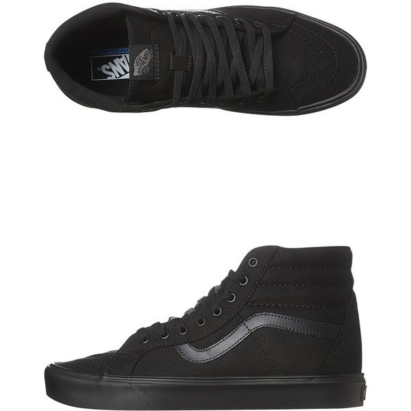 Vans Mens Sk8 Hi Lite Plus Shoe ($110) ❤ liked on Polyvore featuring shoes, sneakers, black, footwear, womens footwear, black canvas sneakers, black hi top sneakers, black high-top sneakers, black sneakers and canvas sneakers
