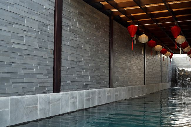 Norstone Grey Basalt 3D Stacked Stone Wall Cladding Pool & Water Feature