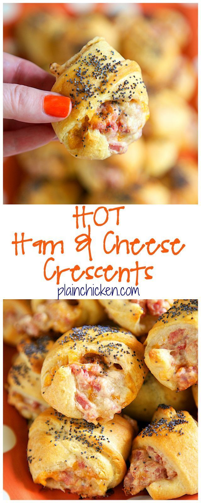 Hot Ham and Cheese Crescents recipe - ham, cheddar, swiss, cream cheese, dijon mustard, Worcestershire, brown sugar mixed together and baked in crescent rolls and topped with poppy seeds.