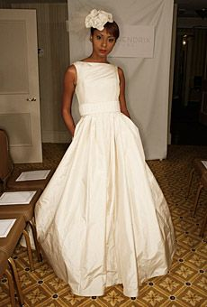Ivory silk taffeta ballgown with belt, Karen Hendrix Couture
