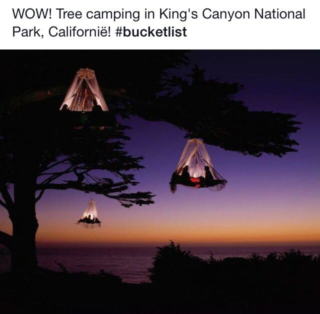 Tree camping in Kings Canyon NP, Californië