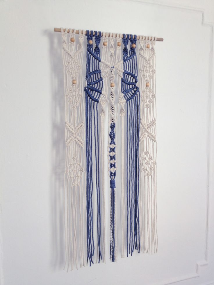 Blue - white - macrame wall hanging - modern macrame - modern bohemian - custom made
