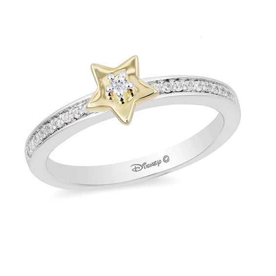 Enchanted Disney Tinker Bell 1 10 Ct T W Diamond Star Ring In Sterling Silver And 10k Gold Size 7 Zales Diamond Star Disney Jewelry Star Ring Engagement