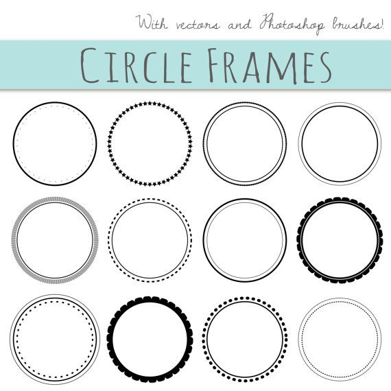 12  Digital Scrapbook Frames // Circle Clip art Clipart // Decorative Border // Supplies Teachers // Vector // Transparent  // Commercial