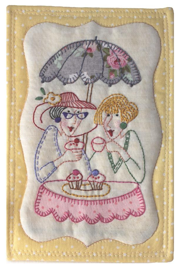 Mug Rug free pattern 2 old ladies under an umbrella sipping coffee and eating pastries