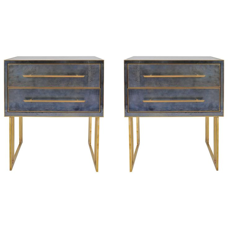 Italian 1970s Blue/Grey Bedside Tables or Nightstands