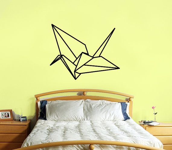 Jack loves origami ... in white, above his bed ... if he gets tired of this, we can always take it down... origami crane wall decal large size origami crane by RadRaspberry, $26.00