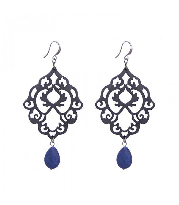 Mooie blauwe oorbellen met opengewerkte hanger|De lengtes van de oorbellen zijn 10 cm | Yehwang fashion en sieraden