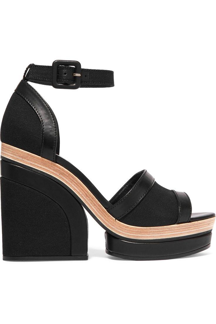 PIERRE HARDY Leather-trimmed canvas platform sandals. #pierrehardy #shoes #sandals
