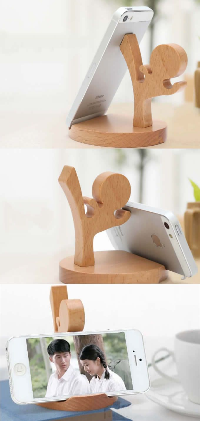 Natural Wooden cell Phone Stand/ Holder For Iphone Ipad