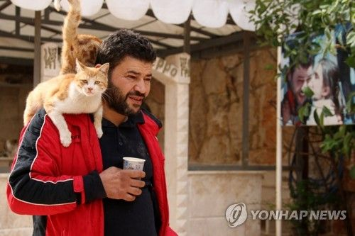 SYRIA PHOTO SET ALEPPO CAT SANCTUARY  ||  Cat sanctuary in Aleppo Syrian paramedic Mohammad Alaa Aljaleel, known as Alaa, carries 'Ernesto's House' cat on his sho http://news.naver.com/main/read.nhn?aid=0006365732&oid=091&utm_campaign=crowdfire&utm_content=crowdfire&utm_medium=social&utm_source=pinterest