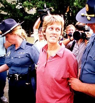 Diane Downs, Notice the smile on her face. would you be smiling if your children were killed and you were accused of killing them?