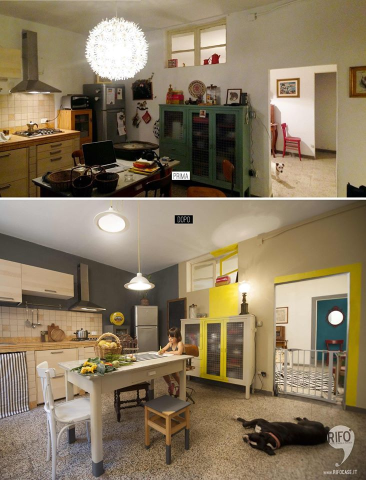 cucina restyling  colore giallo lime beige casa campagna PRIMA E DOPO // kitchen makeover yellow lime beige home country BEFORE AND AFTER