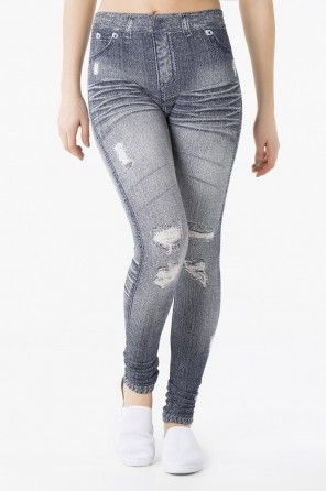 Blue denim print leggings