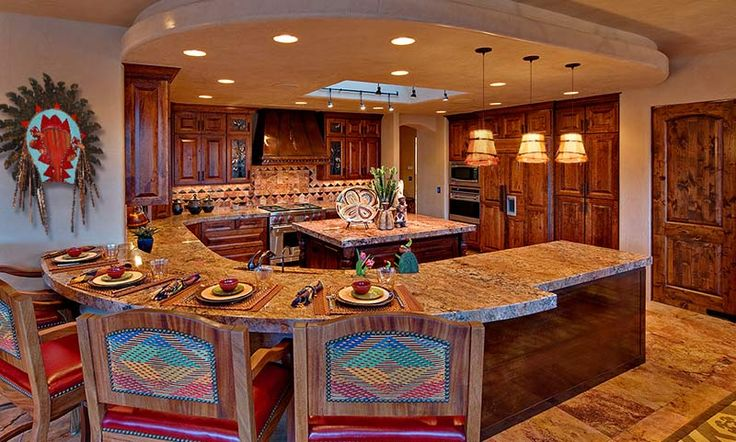 Spacious kitchen(lots of storage & counter), breakfast bar, and country southwest decor. This is a more realistic version of my dream kitchen.