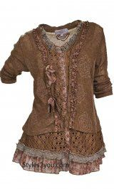 SALE UNTIL MIDNIGHT TONIGHT AT STYLES2YOU.COM.. Enter coupon code TURKEY20 to save 20% of your entire order.....Pretty Angel Clothing Layered Victorian Tunic In Brown