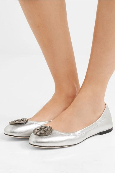 e46101f9a2d Tory Burch - Liana Embellished Metallic Leather Ballet Flats - Silver