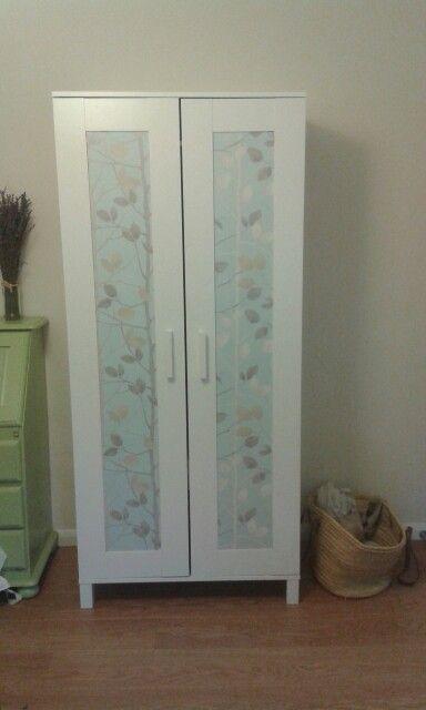 Fancy Ikea hack Aneboda wardrobe plus a bit of wallpaper