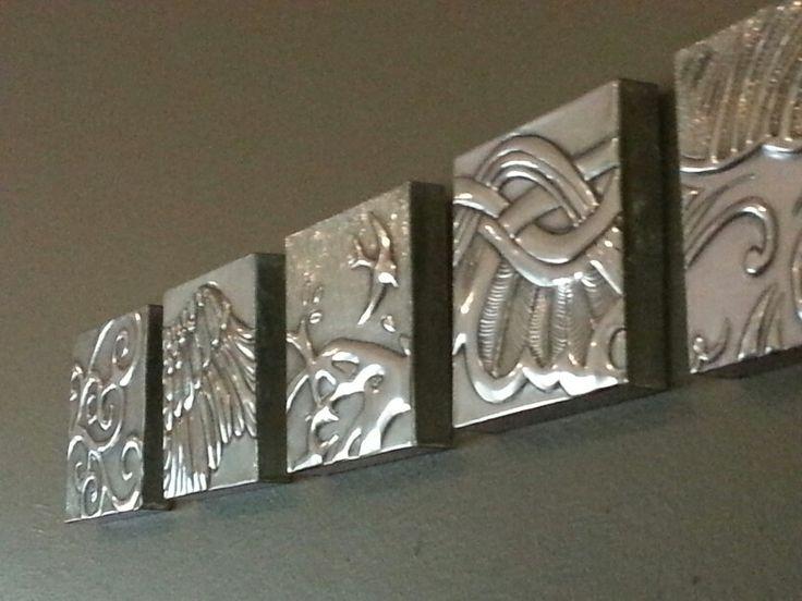 Wall Art 6 x pewter blocks