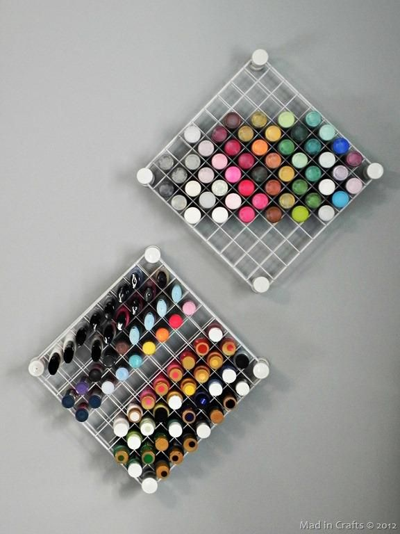 How to Store Nail Polish: 6 pretty + creative ways - Using PVC and wire shelves, you can make a super organized and unique display to show off all your polishes