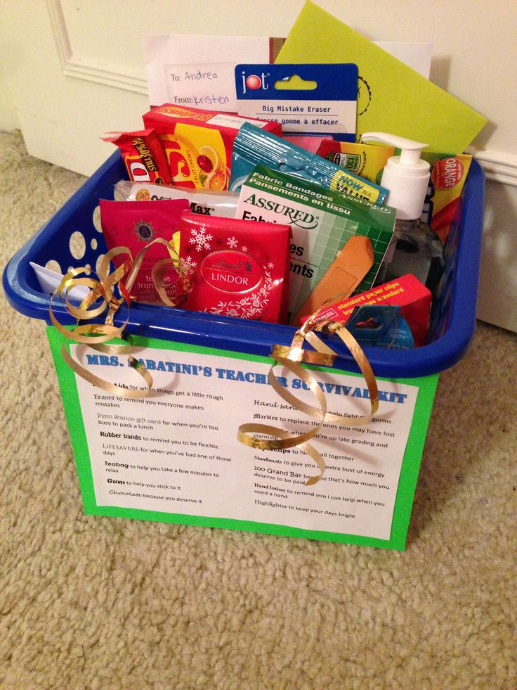 The teacher survival kit I made for my cooperating teacher on my last day of student teaching.