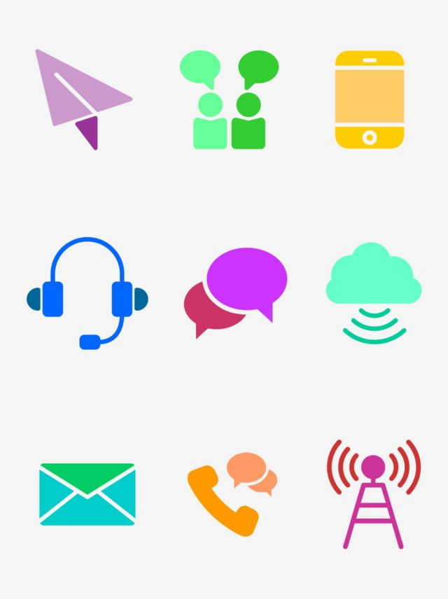 9 Color Simple Communication Element Icons Communication Communicate With Signal Png Transparent Image And Clipart For Free Download Clip Art Communication Icon Background Banner