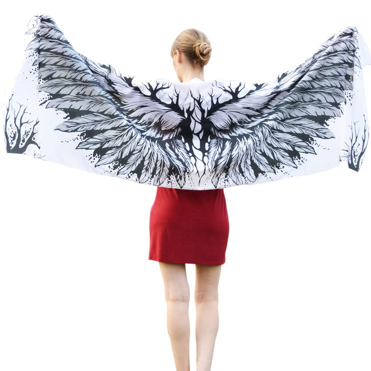 Silk Wings – white scarf