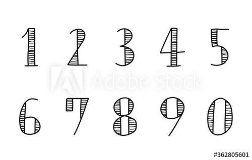 手描きの数字のセット イラスト おしゃれ かわいい Math
