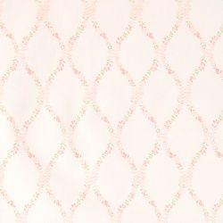 Twill, Weiß mit rosa Blumenranken