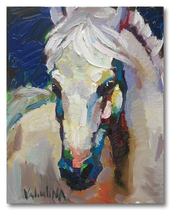 """White horse painting - original oil painting on canvas 15.7"""" x 19.7"""", Impasto painting, Horse art, Ready to hang, Fine art by Valiulina:"""
