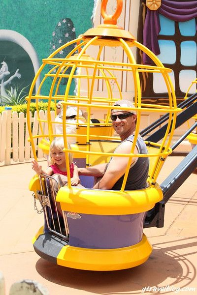 Trips to the amusement park (this is Movie World's Flying Bird Cages).