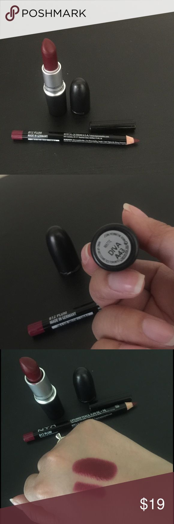 Mac lipstick and Nyx lip liner (both used) Mac DIVA lipstick and Nyx PLUM lip liner (both used) MAC Cosmetics Makeup Lipstick