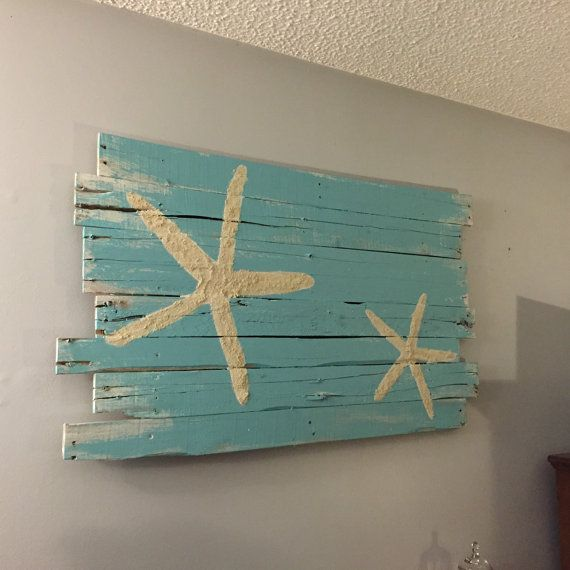 Beach Decor Surf and Starfish Reclaimed Wood 43 x by WoodburyCreek