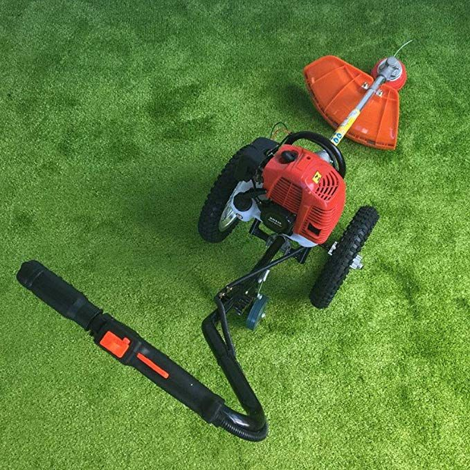 43cc Heavy Duty Wheeled Brush Cutter 2 Stroke 3 In 1 Gasoline Hand Push Wheeled Portable Cutter Saw Grass Trimmer Revie Heavy Duty Wheels Trimmers Trim Reviews