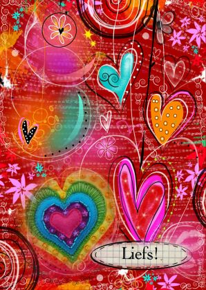Een kleurrijke vriendschapskaart om iemand wat liefs te sturen.  Maak deze kaart op www.kaartje2go.nl
