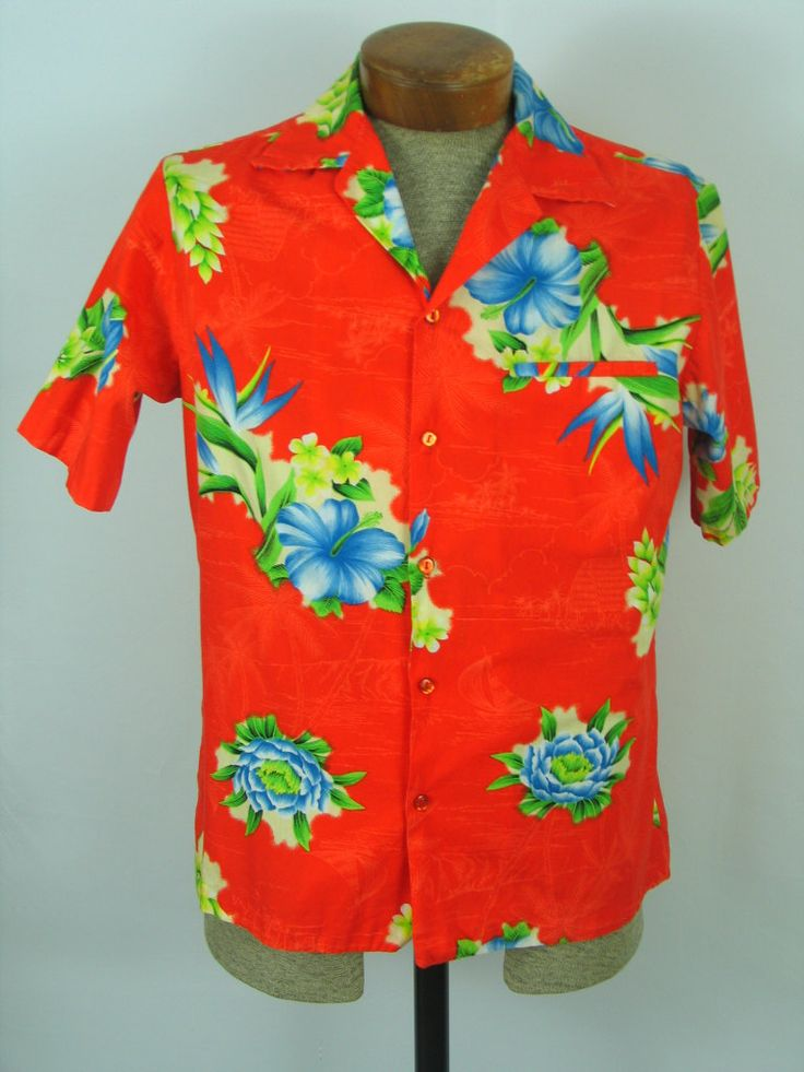 80s 90s Hawaiian shirt DEADSTOCK Hilo Hattie mens button down shirt vintage Hawaii button up shirt mens size Small gift for him NWT kevhmJgg
