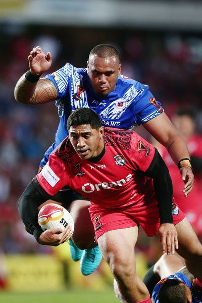 Canberra Raiders Junior Paulo of Samoa tackles Jason Taumalolo during the 2017 Rugby League World Cup match between Samoa and Tonga at Waikato Stadium on November 4, 2017 in Hamilton, New Zealand.