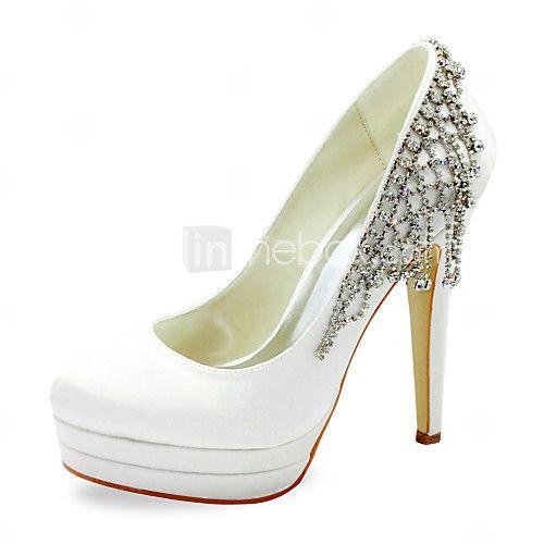Fabulous raso tacco a spillo pompe con scarpe da sposa strass (altri colori) - EUR €38.37