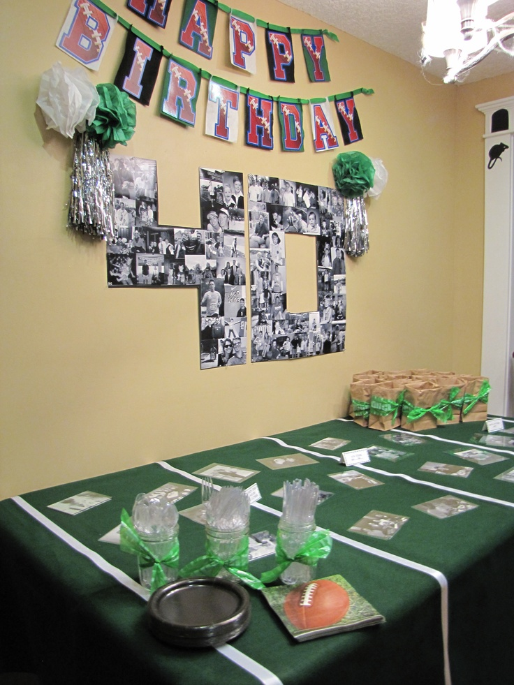 40th Birthday Party Tablescape Football theme...photos by decades = yards on football field