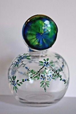 Fine Antique Blue Guilloche Cymric Enamel Sterling Silver Perfume Bottle Liberty - Beautiful! The top reminds me of the globe.