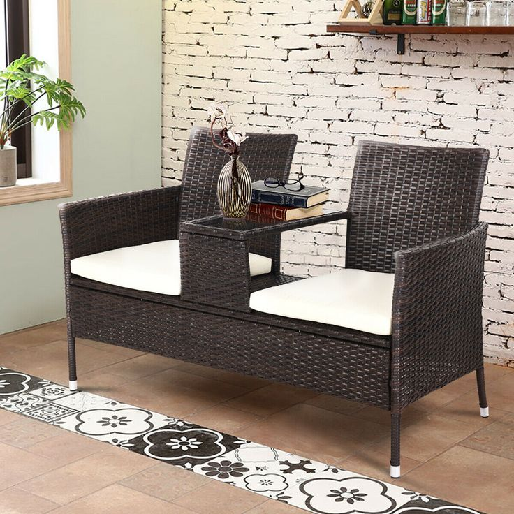 Costway Patio Rattan Chat Set Seat Sofa Loveseat Table
