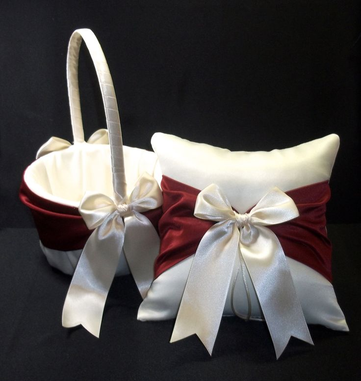 Claret  Apple Red  & Ivory or White  Wedding Ring Bearer Pillow,  Flower Girl Basket