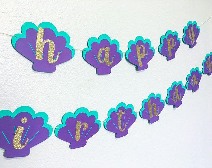 Bandera de sirena | Partido de sirena | Bajo la bandera de mar | En la decoración de la fiesta de mar | Decoración de sirena | Banner de feliz cumpleaños