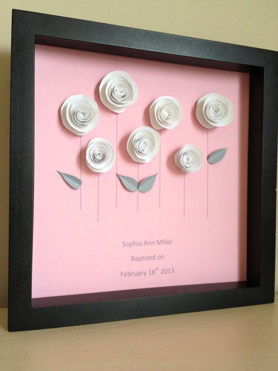 White Rose Garden 3D Paper Art frame - very simple - spuerlike!